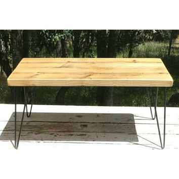 Hairpin Leg Coffee Table Wrought Iron Reclaimed Wood Plant Stand Occasional End Table Night Stand Rustic Furniture Hair Pin Metal Antique