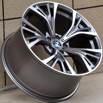 "Set of 4 21"" Silver Staggered Aluminum Alloy Wheels - 5x120 - BMW, Camaro, Land Rover, Cadillac"