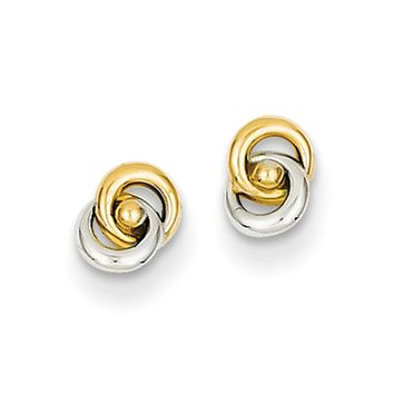 5mm Two Tone Love Knot Post Earrings in 14k Gold and Rhodium