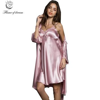 Satin  Robes Two Piece Set Conjuntos De Batas Y Camisones Kimono Satin Pajama 8085