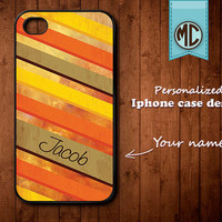 Personalized iPhone Case - Plastic or Silicone Rubber Monogram iPhone 4 4S Case Cover - K002