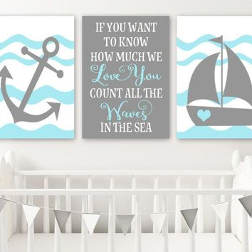 Boy NAUTICAL Nursery Wall Art, Baby Boy Nautical Nursery Wall Decor, Count the Waves in the Sea, Nautical Nursery Canvas or Prints Set of 3