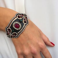 Ethnic Cuff Bracelet Crafted with Beads and Zircone Stones, Unique Elegant Bracelet, Casual Chic, Silver Wire Wrapped Bracelet