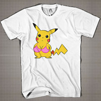 PIKACHU With Pink Bra  Mens and Women T-Shirt Available Color Black And White