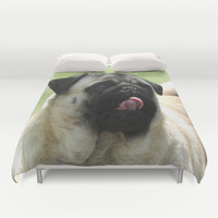 Pug face Duvet Cover by Veronica Ventress