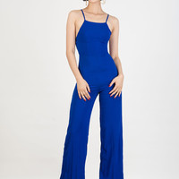 Blue Spaghetti Strap Backless High Waist Palazzo Jumpsuit