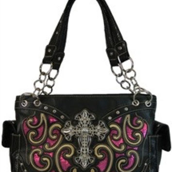 Western Laser Cut Handbag W/Bling Cross- Black & Hot Pink