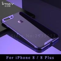 For apple iphone 8 plus case ipaky coque For iphone 8 7 plus case Silicone transparent TPU + PC Plating Frame For iphone8 cases