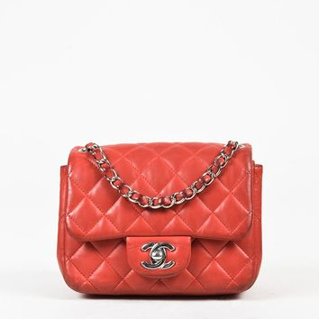 Chanel Red Lambskin Quilted Mini Crossbody Classic Flap Bag