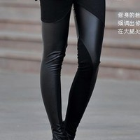 *Free Shipping* Black Ladies Faux Leather Leggings One Size YL873225b