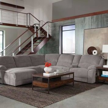 6 pc Mackenzie collection silver textured chenille upholstered motion sectional sofa set with chaise and recliners
