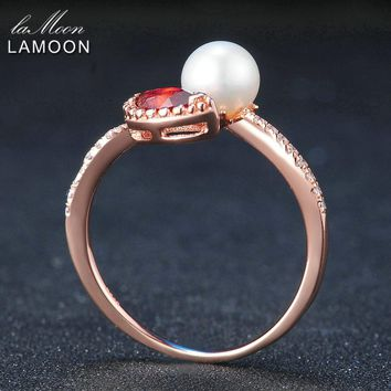 LAMOON Natural Red Garnet Freshwater Pearl 925 Sterling Silver Jewelry Wedding Ring with Rose Gold Plated S925 For Women LMRI048