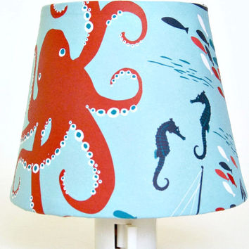 Orange Octopus Nautical Nursery Night Light