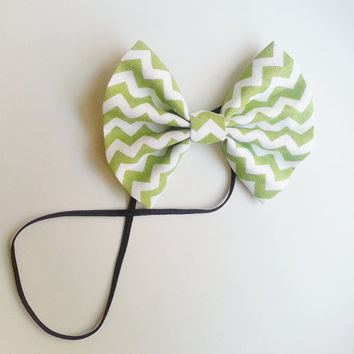 Green Chevron Headband, Small Hairbow Headband, Toddler Headband, Baby Headband, Spring Headband