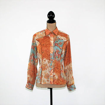 Hippie Bohemian Print Chiffon Blouse Long Sleeve Button Up Top Women Small Sheer Shirt Paisley Velvet Trim Orange Rust Teal Womens Clothing