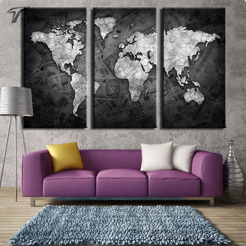 Large Art World Map Canvas Black and Metalic Wall Paintings Global Maps on Money