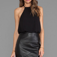 Black Chiffon Vinyl Mini Dress with Asymmetric Hem