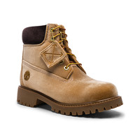 OFF-WHITE x Timberland Velvet Hiking Boots in Camel | FWRD