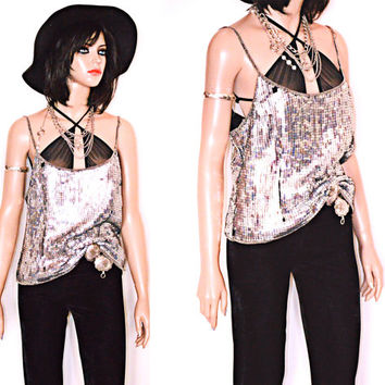 Vintage 70s 80s Sequin Disco Silver Tank Shirt Holiday Disco Ball L
