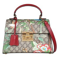 Gucci Women's Brown Canvas Flower Bird Series Padlock Handbag