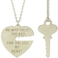 Key To My Heart Necklace Set with Silver Finish: Jewelry: Amazon.com