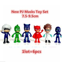 6Pcs Full Set Pj Masks Characters Catboy Owlette Gekko Cloak Action Figure Toys