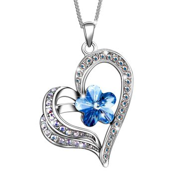 'Timeless Love'  Heart Necklace Pendant Made with Swarovski Crystal