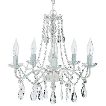 5 Light Swoop Arm Crystal Plug-In Chandelier (Whitewashed)