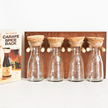 Vintage Wooden Wall Spice Rack with Glass Jars, Mini Wine Carafe in BOX, Paul Masson California