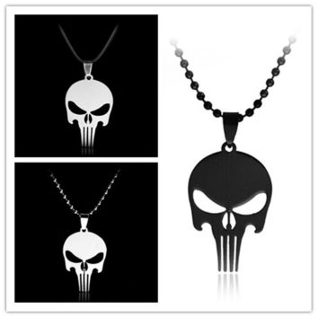 RJ  Fashion Jewelry Simple The Avengers Superhero Skull Head Necklaces The Punisher Skeleton Beads Chain Men Necklace Pendant
