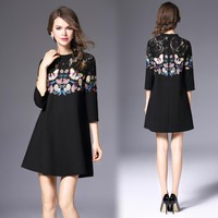 Woman dress black a-line cotton dress butterfly flower embroidery lace chest high quality dress