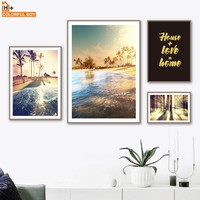 COLORFULBOY Sunshine Coast Landscape Nordic Poster Canvas Art Print Posters And Prints Paintings For Living Room Wall Pictures