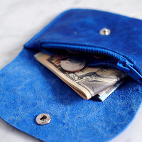 Blue Small Genuine Leather Wallet For Men & Women