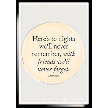 Here's To Nights We'll Never Round Decoupage Glass Tray