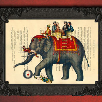 Circus Print, circus elephant art print - Elephant home decor dictionary print - book page print - recycled upcycled, drawing illustration