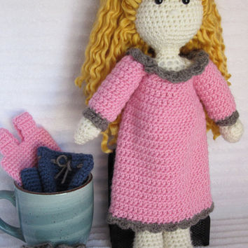 Crochet Doll, Baby Doll, Toy Doll, Amigurumi Doll, Crochet Blonde Doll, Baby Doll Clothes, Crochet Clothes, Crochet Baby Doll Clothes