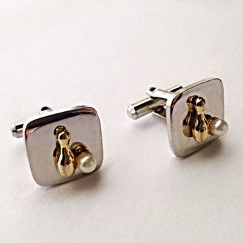 Vintage Bowling Cufflinks Square Silvertone Men's Sports Cuff Links