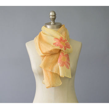 SALE / 90s Scarf / 1990s Floral Scarf / Sheer Chiffon Scarf / Oblong Scarf / Gold Yellow Red Flower Print Neck Scarf