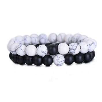 2 Piece/Set Couples Bracelet Classic Natural Stone