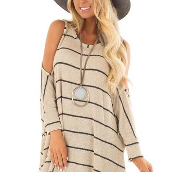 Taupe Striped Cold Shoulder Knit Top with 3/4 Length Sleeves