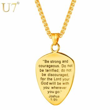 U7 Necklace Bible Cross Shield Of Faith Stainless Steel Pendant & Chains Gold/Black Color Christmas Gift Jewelry Necklaces P1138