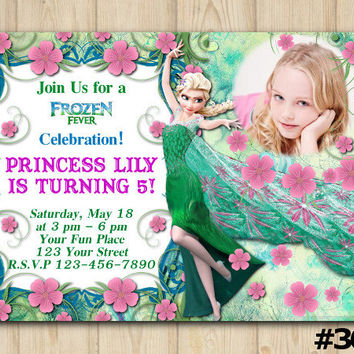 FROZEN FEVER INVITATION with photo, Frozen Fever Birthday Party, Frozen Photo Invitation, Disney Princess Frozen, Elsa Custom Invite(#303)