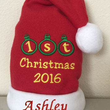 Personalized Embroidered Ornament Baby's First Christmas Santa Hat