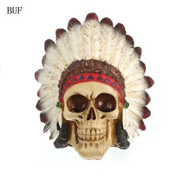 Skull Skulls Halloween Fall BUF Resin Craft Statues For Decoration Indian Style  Creative  Figurines Sculpture Home Decoration Accessories Calavera