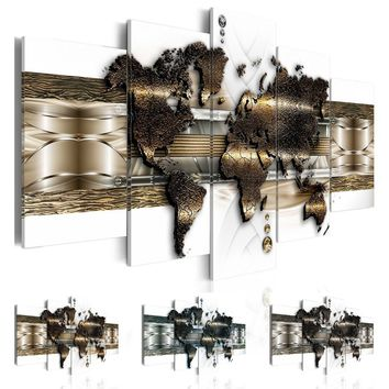 Fashion Wall Art Canvas Painting 5 Pieces Gold Blue Grey Abstract Metal Map Modern Home Decoration,Choose Color And Size No Fram