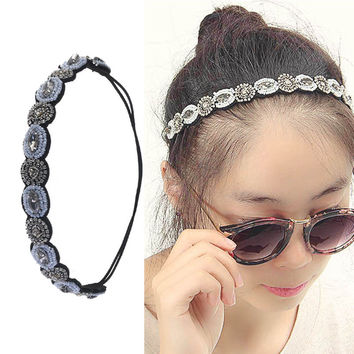 LNRRABC Fashion Girls Crystal Rhinestone Gray Beads Elastic Hair Bands Headband Hair Accessories acessorio para cabelo turban