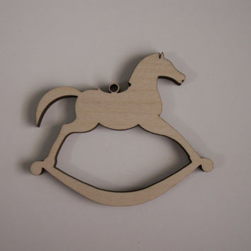 6 Pieces, Rocking Horse Wood Cutouts, Laser Cutouts, Unfinished Wood, Home Decor, Baby Shower Favors, Christmas Ornaments, Christmas Tags