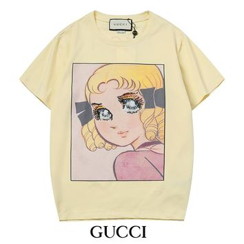 GUCCI Newest Popular Women Men Casual Cartoon Girl Pattern Sequins Print Round Collar T-Shirt Top Blouse