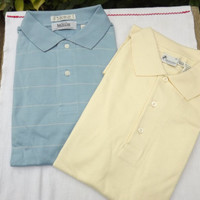 2 Mens Sport Shirts, Vintage Golf Shirts, Blue Striped, Pale Yellow, Size XL Tall, Cotton Shirts