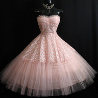 SALE Vintage 1950's 50s Bombshell STRAPLESS Pink Silver Metallic Tulle Circle Skirt Party Prom Wedding Dress Gown
